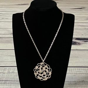 Express Large Silver & CZ Necklace